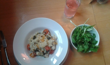 My risotto and green salad.